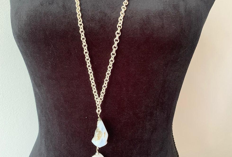 Long RoughCut Blue Lace Agate Necklace