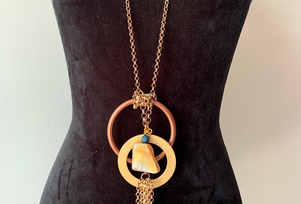 Long Eclectic Copper Chain Necklace