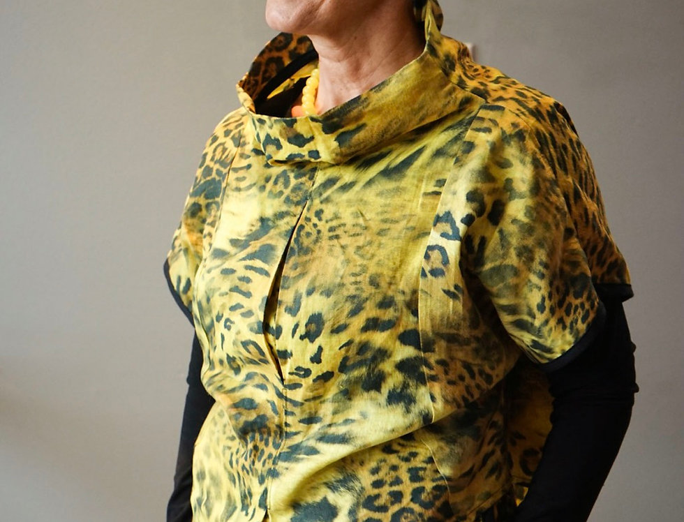 Hand dyed Leopard Linen Pleated Top