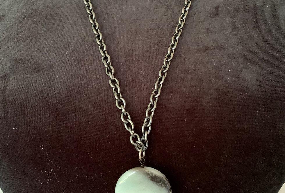 Amazonite Coin, Lapis Necklace