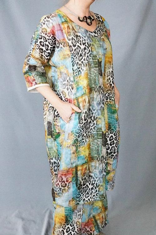 Venetian Animal Print Linen Easy Dress