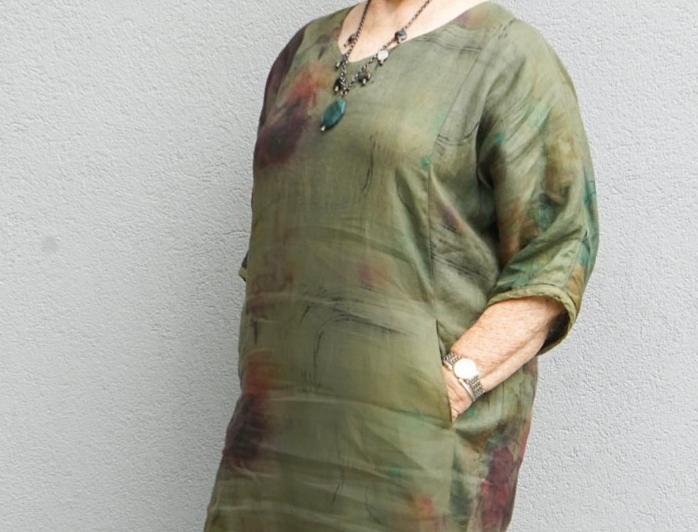 Hand dyed linen Easy dress