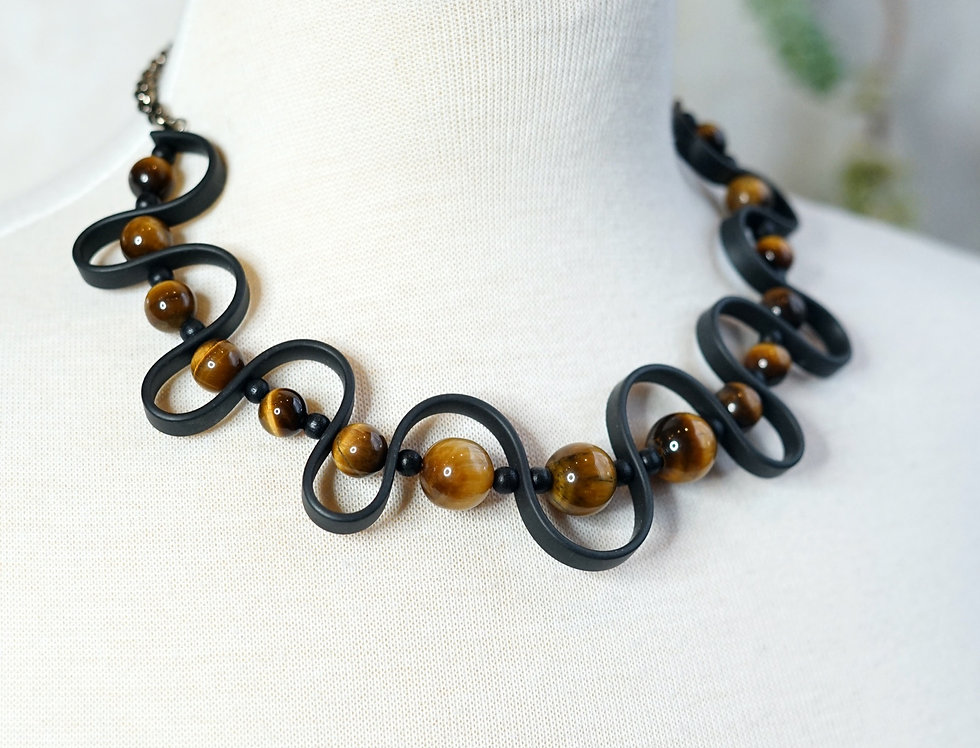 Tigers Eye Rubber Wave Necklace