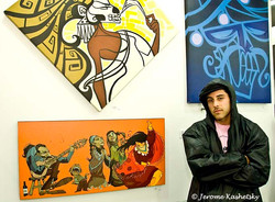 DDedos in front of various works
