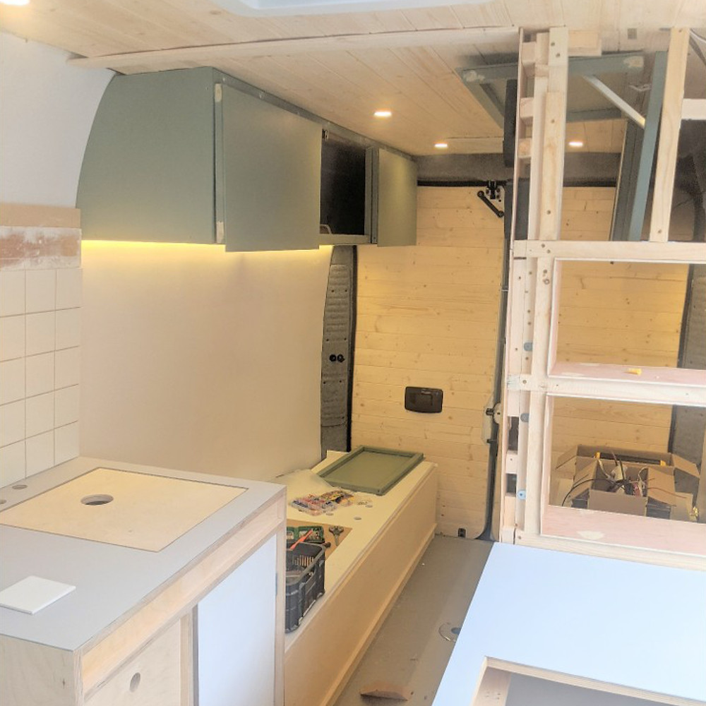 Overhead storage cupboard campervan