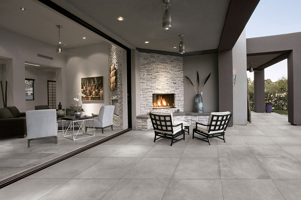 Grey floor tiles indoor and outdoor