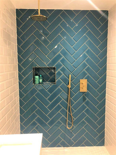 Teal Herringbone Shower
