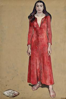Mirav im roten Kleid