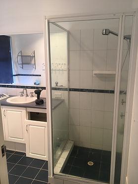 Shower vanity before bathroom renovation