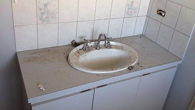 Bathroom before repair and remodel
