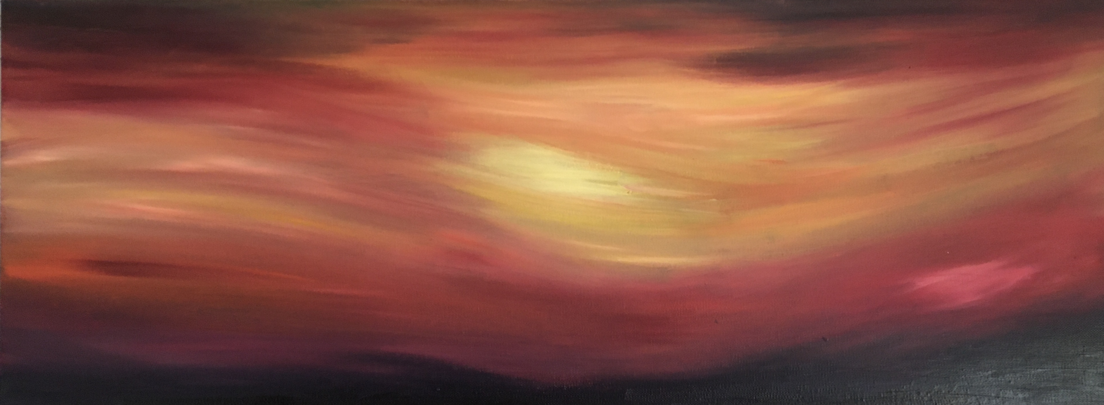 Patricia Aspinall, 'Sequence II - Sunset.'             Oil on canvas  Framed Size: 90cm x 40cm. £175