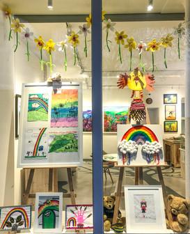 Lockdown window display with children's artwork