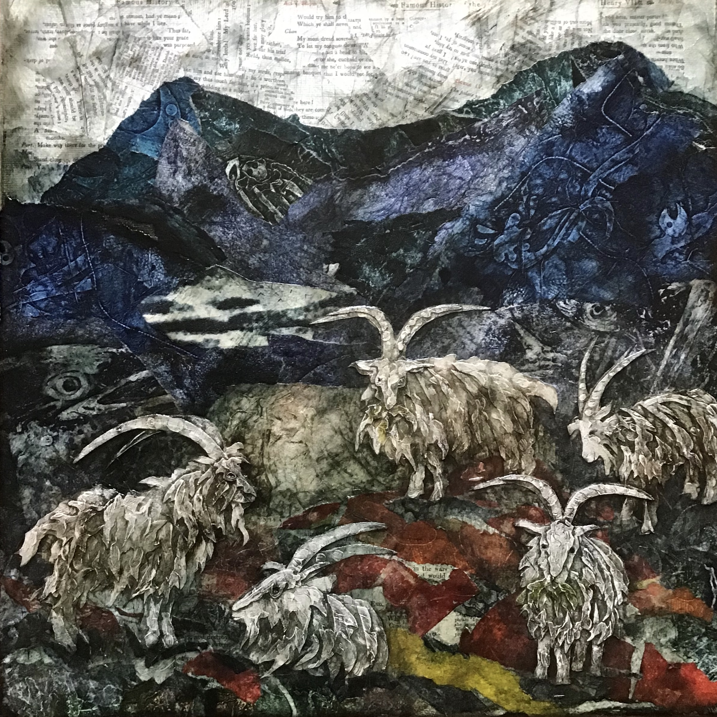 Judith Harrison, 'Feral Goats.' Mixed Media on Canvas. Framed Size: 43cm x 43cm. SOLD
