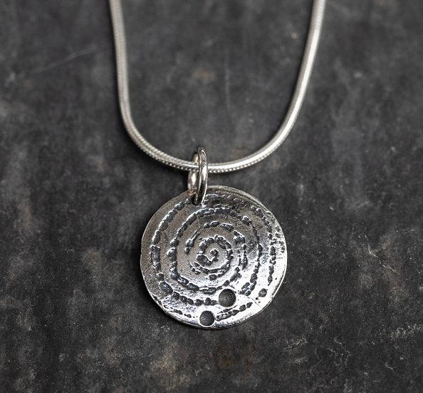 Llanbedr spiral pendant oxidised