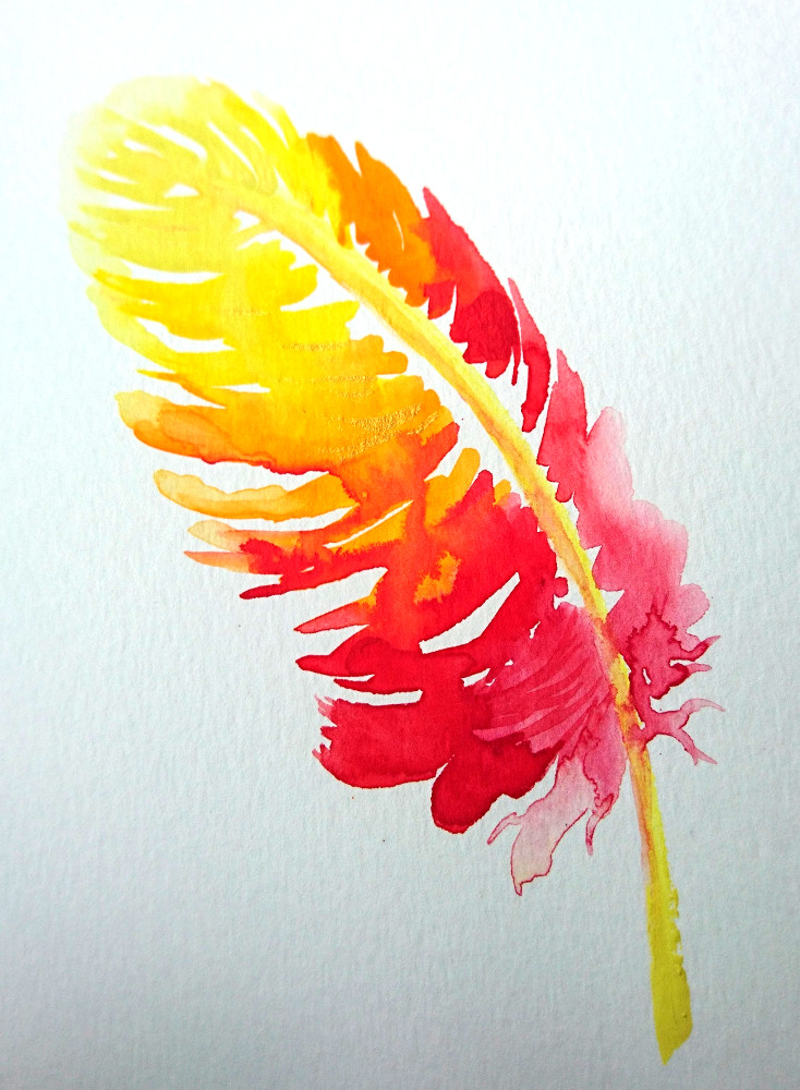 Katy Jones, 'Phoenix Feather II.' Framed Size: 30cm x 35cm. £164