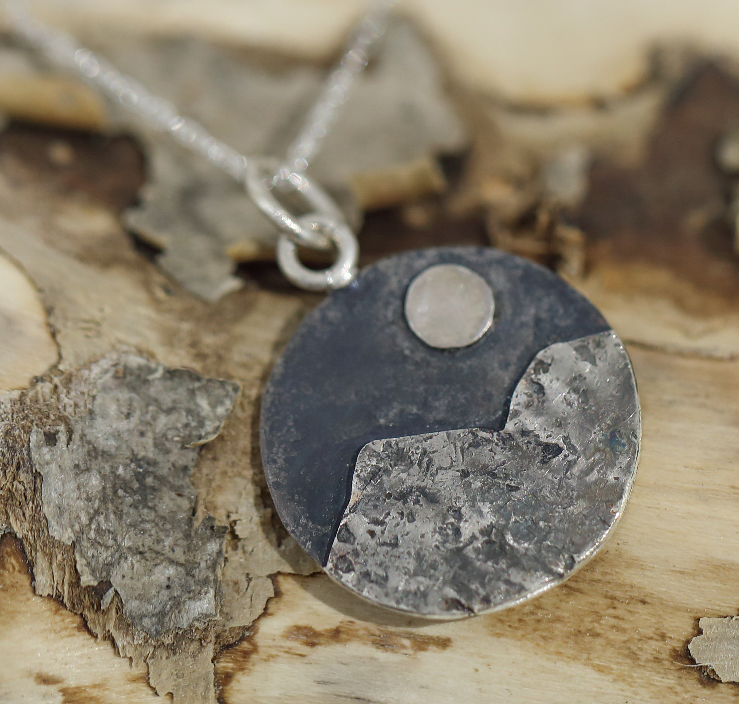 Harri Carmichael.  Silver Mountain Pendant with Chain. SOLD