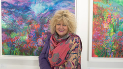 Jan Gardner with her works