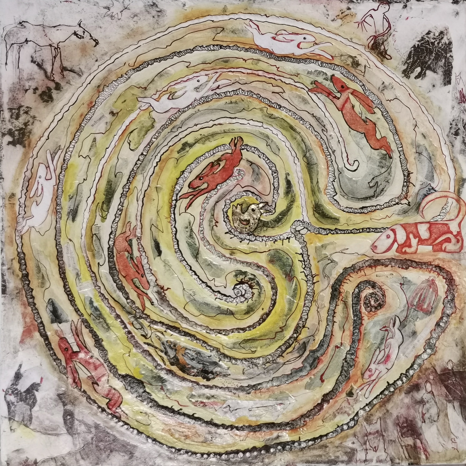 Judith Harrison, 'Circle Series II – Seeking the Golden Bird.' Mixed Media. Size: 43 x 43 cm. £250