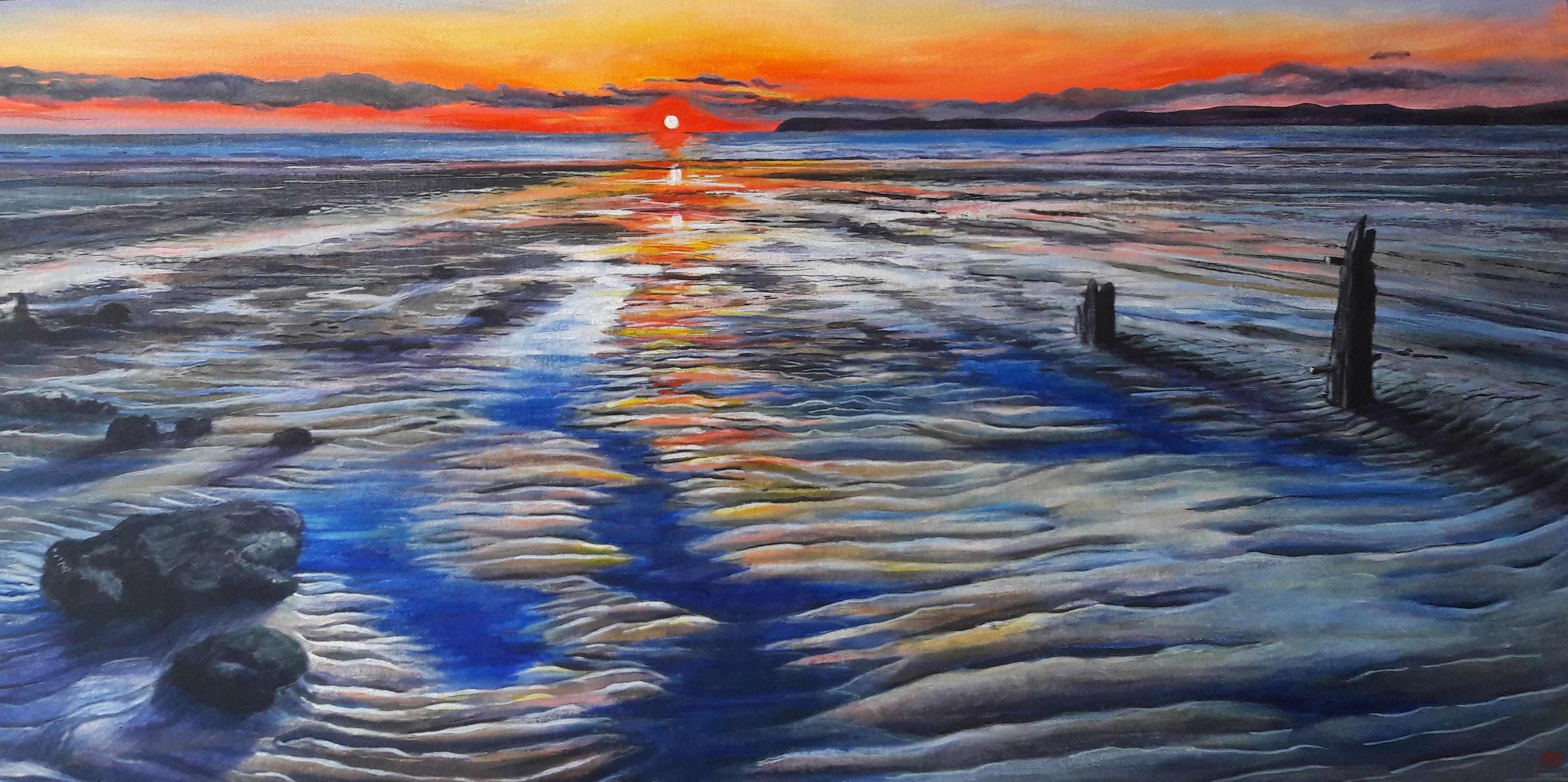 Shàn Ellis, 'Sunset at Llandanwg.' £385