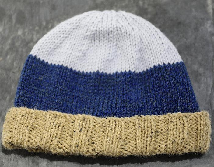 Adult Hat – Blue & Brown Striped Design /  Het Oedolion – Dyluniad Stribedi Glas