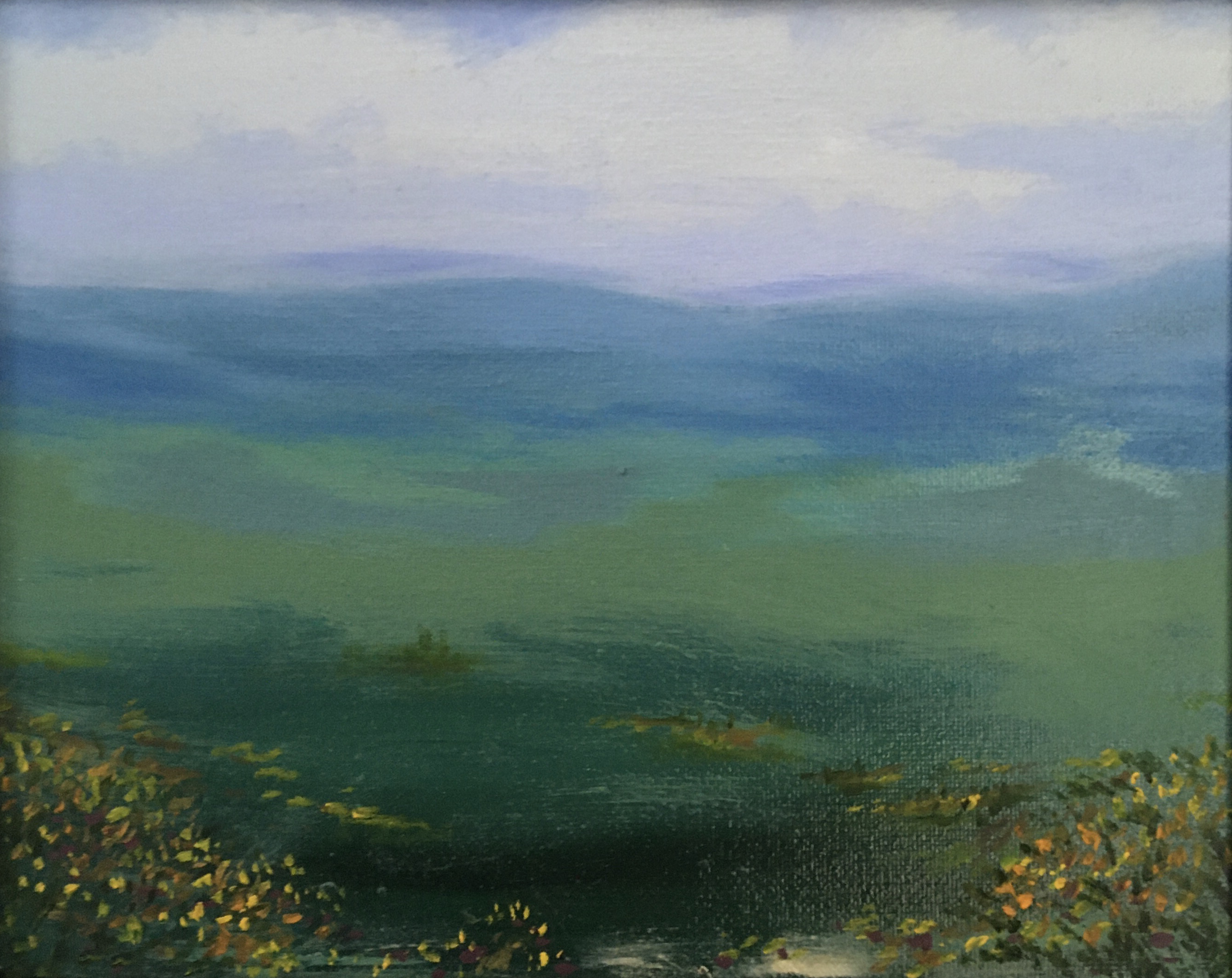 Patricia Aspinall, 'The Gorse land' Oil on canvas. Framed Size: 28cm x 33cm. £65
