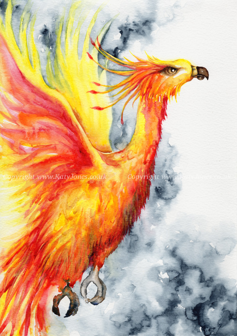 Katy Jones. 'Fiery Phoenix.' Framed Size: 34cm x 43cm. £354