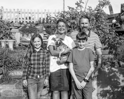 Jane, Ben, Tom, Evie and Nellie (the dog)