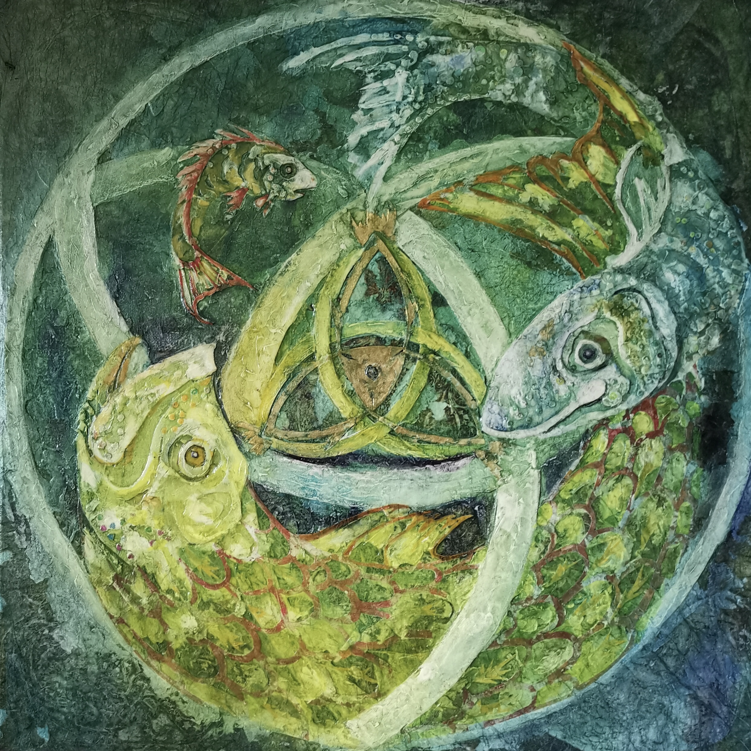 Judith Harrison, 'Circle Series I – Three Fish.' Mixed Media. Size: 53cm x 53cm. £400