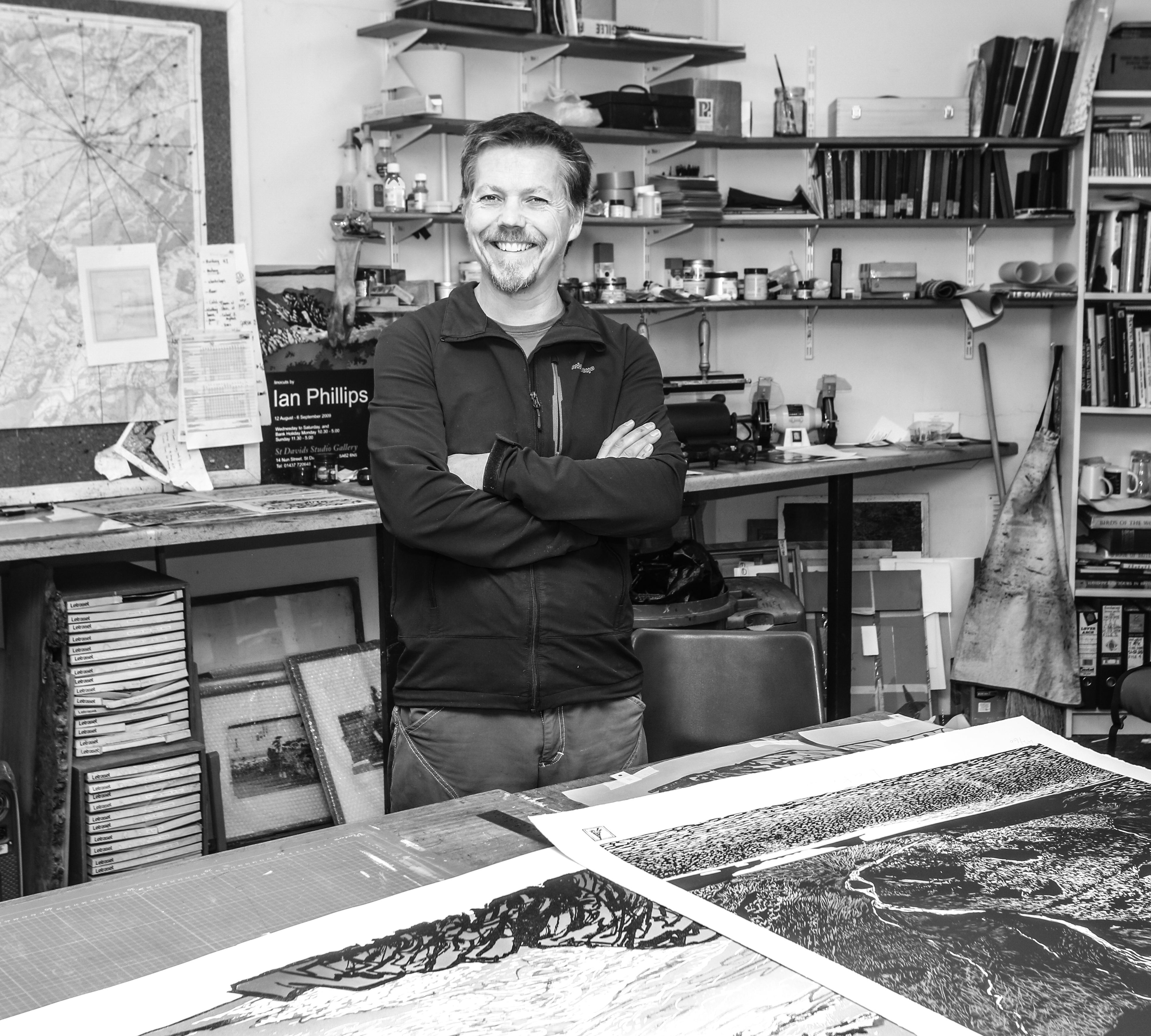 Ian Phillips in his studio at Aberystwyth