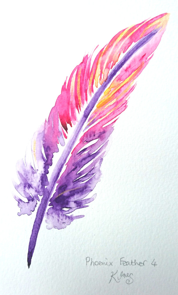 Katy Jones. 'Phoenix Feather IV.' Framed Size: 30cm x 35cm. £164