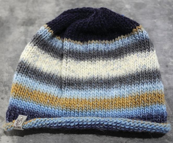 Adult Hat – Blue, grey, brown & cream striped design / /Het Oedolion – Dyluniad