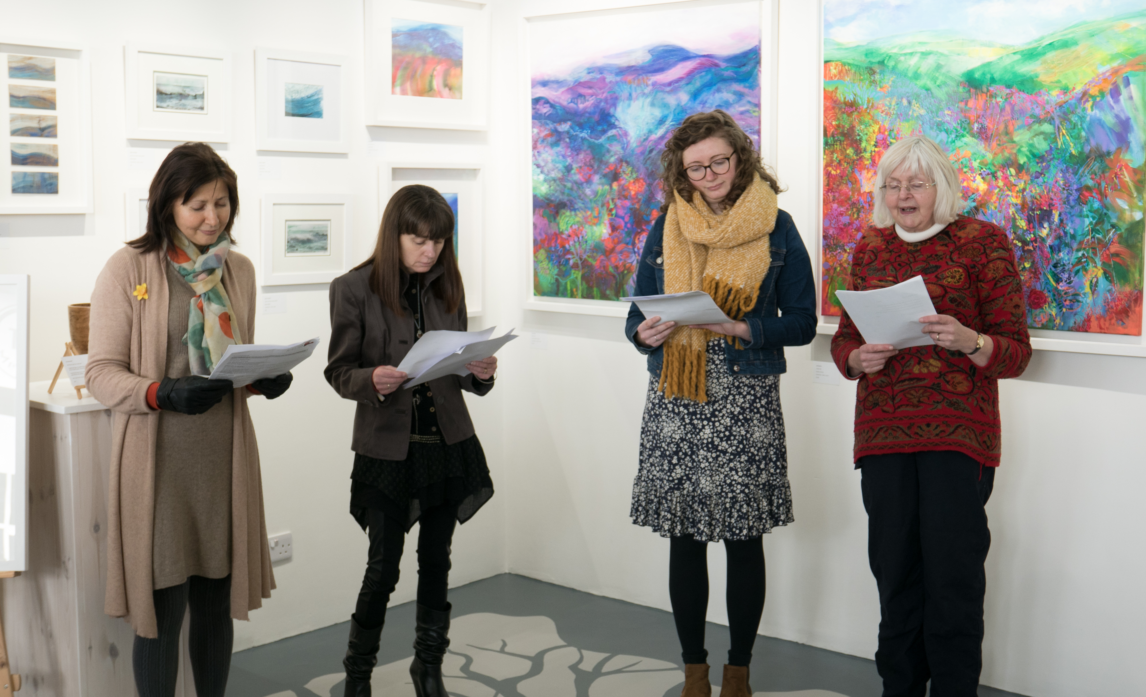 Poetry readings by Kiran, Mari, Hannah and Debbie at the New Beginnings Launch