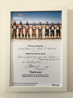 Certificate of fundraising for the RNLI