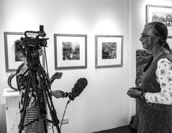 Valerie Land being interviewed with Alice Oliver from North Wales TV news