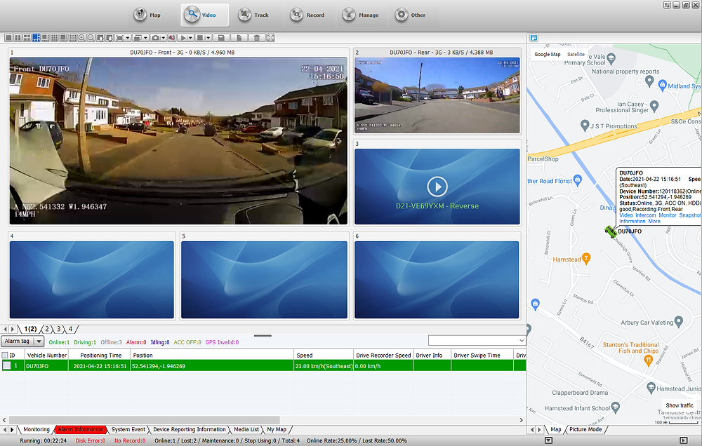 Live view form the PC software
