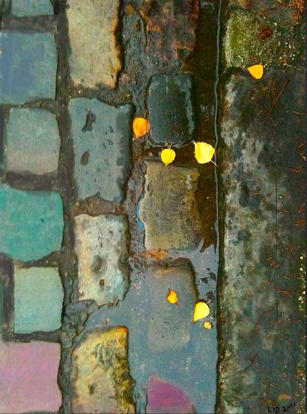 Pavés feuilles d'or Paris