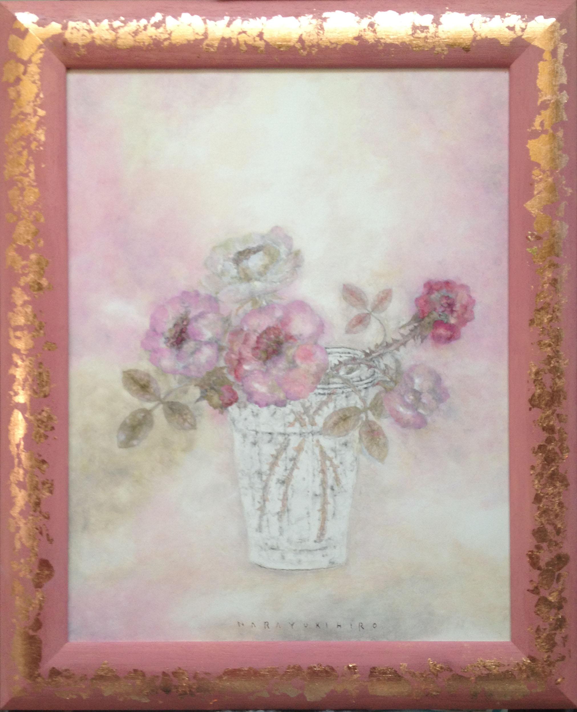 Roses cadre rose