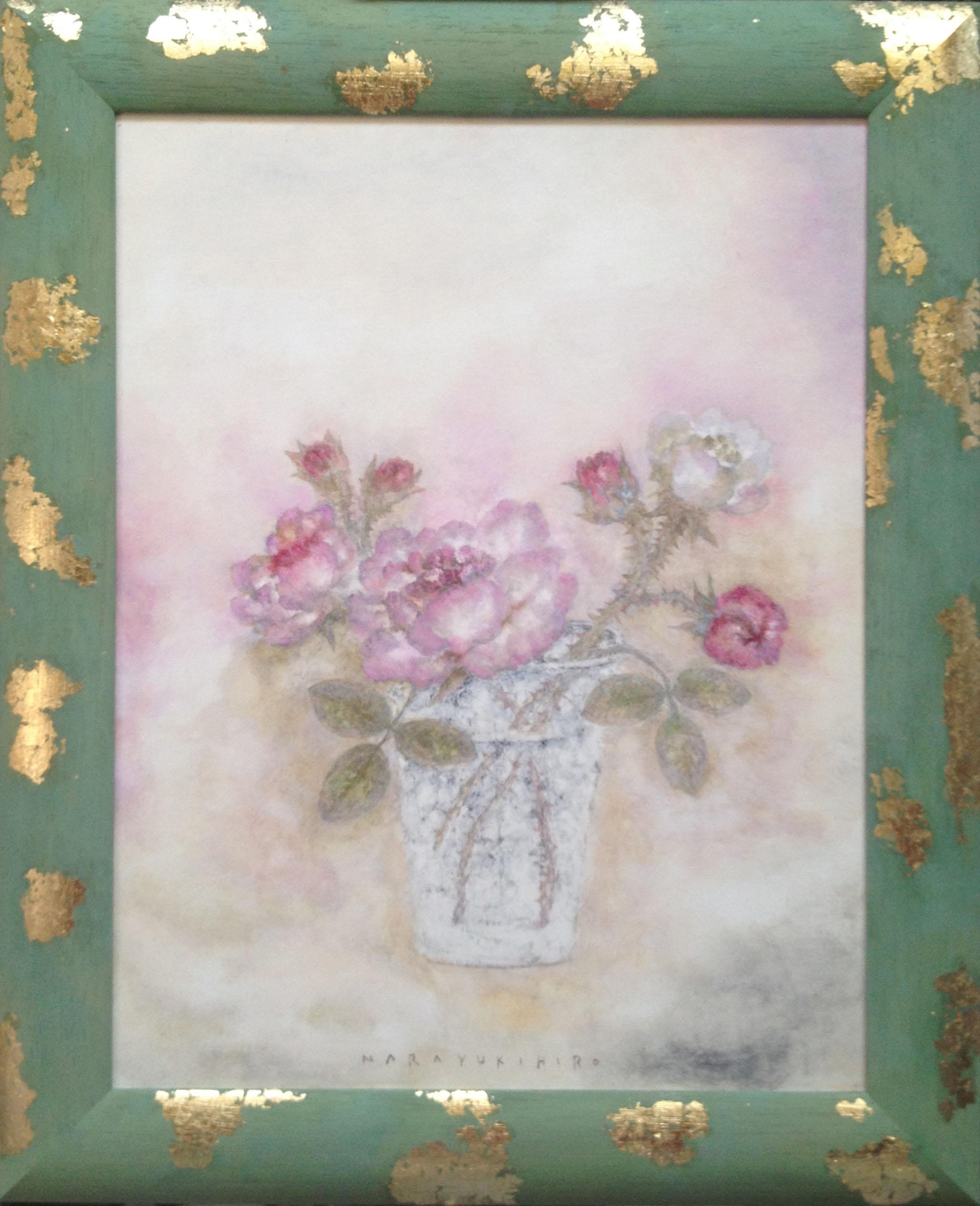 Roses cadre vert