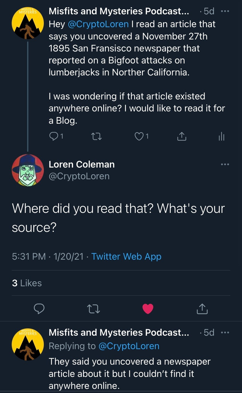 A Tweet from the Misfits and Mysteries Twitter account to famous Cryptozoologist Loren Coleman