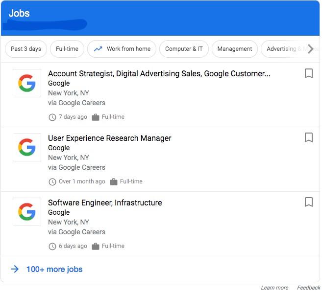 Example Google Job Posting