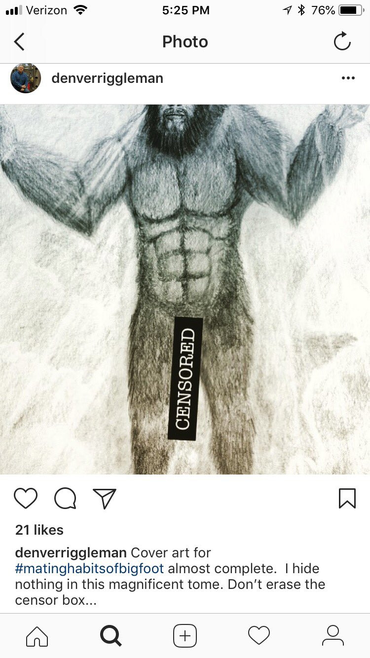 Image of Bigfoot Erotica from Congressman Denver Riggleman's public instagram showing a drawing of a naked Bigfoot with a massive penis