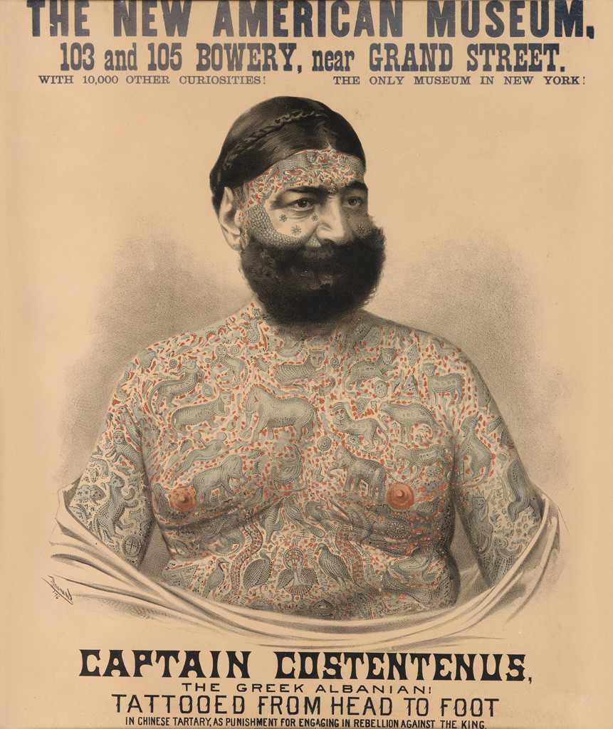 Captain Costeneus the Tattooed Wonder Poster from the American Museum