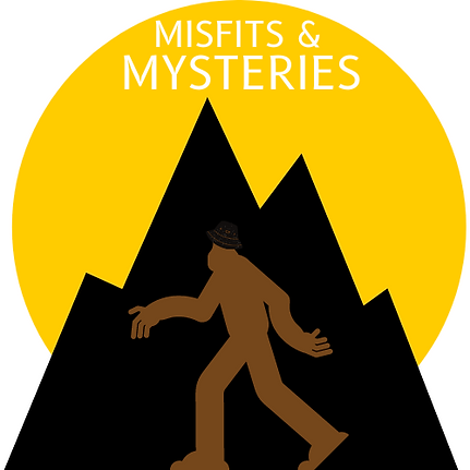 Misfits and Mysteries Podcast Logo. The logo is Bigfoot wearing a bucket hat walking by a mountian with the moon over the mountian