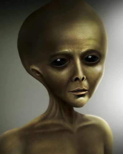 """Artist rendition of an alien as """"little green men"""""""