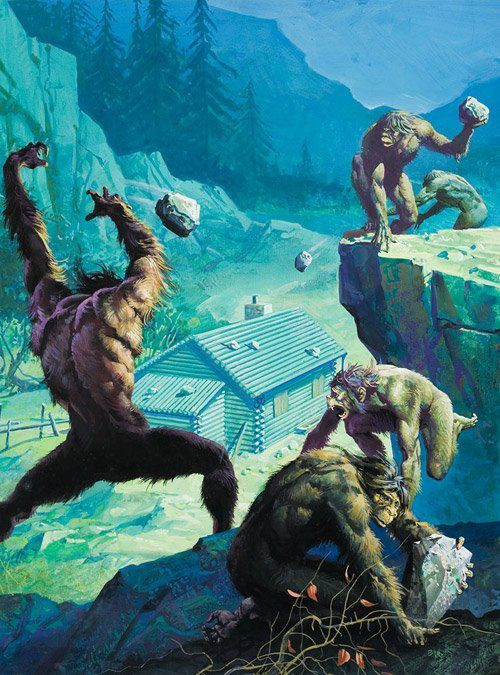 Artist depiction of the Bigfoot assault on a gold prospector cabin in Ape Canyon in 1924