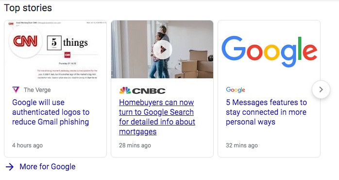 Example of top stories from Google
