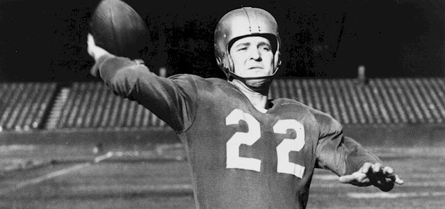 Image of Detroit Lions Hall of Fame Quarterback Bobby Layne throwing a football
