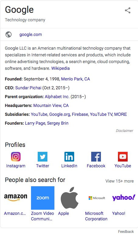Example Knowledge Panel For Google