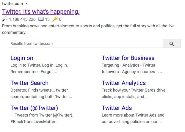 Example of a Sitelink - Search Box from Twitter.com
