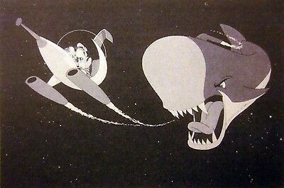 Monstro the whale attacking space ship Pinocchio in space